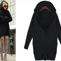 Black Hooded Front Pocket Coat