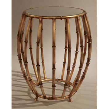 Dessau Home HC672 Antique Gold Bamboo Drum Accent Table with Mirror Top