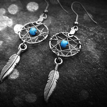 Dream Catcher Earrings - Mini blue bead