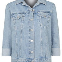 PETITE Oversized Denim Jacket - Mid Stone
