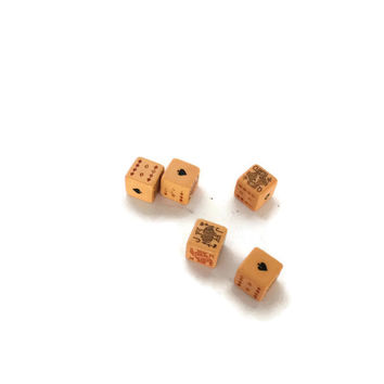 Dice Set, Poker Dice Game, Poker Dice, Vintage Dice Game, Set of Dice, Gift for Him, Bakelite Poker Dice