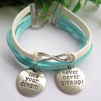 infinity bracelet--love white leather charm,live in your dream &never give up bracelet,antique silver bracelet, MORE COLORS