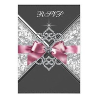 White Diamonds Pink Black Sweet 16 Birthday Party Invitation from Zazzle.com
