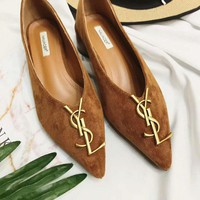 YSL Women Fashion Leather Pointed Toe Low Heel Shoes