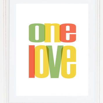 "Bob Marley ""ONE LOVE"" Reggae Song Typography Print Poster Lyrics Modern Wall Art Colorful Playful Contemporary  **Buy 2 Get One Free**"