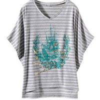 Grey V-neckline Stripe T-shirt with Batwing Sleeves