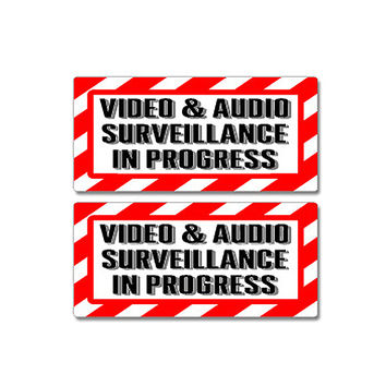 Video & Audio Surveillance In Progress Sign Sticker Set