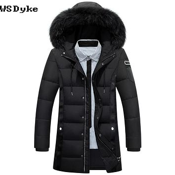 Long Thick Hooded Parka Coat Slim Fur Collar White Duck Down Padded Coat