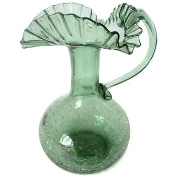 Vintage Green Crackle Glass Pinched Ruffle Pitcher Vase