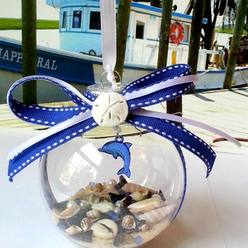Seashell Christmas ornament with blue dolphin sand and seashells
