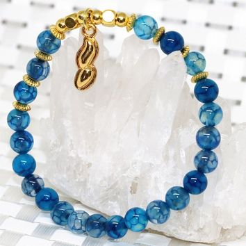 Natural 6mm blue dragon vein stone carnelian&agate&onyx round beads bracelet 7.5inch