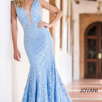 Powder Blue Lace Prom Dress 22917