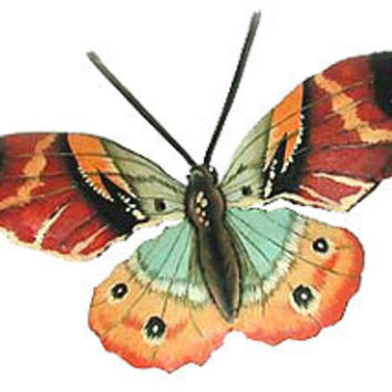"Hand Painted Butterfly Metal Wall Decor- 22"" Outdoor Garden Art - Recycled Steel Drums from Haiti - 516-22-BR"