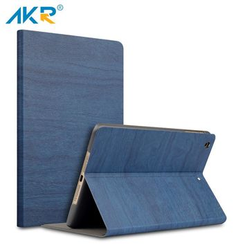 AKR Case for iPad 2 3 4 9.7 inch Stand cover Fashion PU Wood Grain Leather wake sleep free shipping Protector film