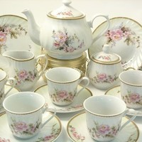 Tea Set: 6 Cups & Saucers, Tea Pot, Cream & Sugar, Charmed Rose Pattern