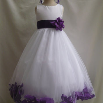 Rosepetal Dress WHITE Flower Girl Blue Royal Navy Turquoise Brown Burgundy Fuchsia Green Sage Guava Lilac Orange Pink Purple Red Teal Silver