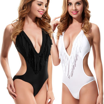 Brand New Women Beach Tassel Swimsuit  Boho Fringe Strapless Swimwear Hatler Strap One Piece Bathing Suits Monokini