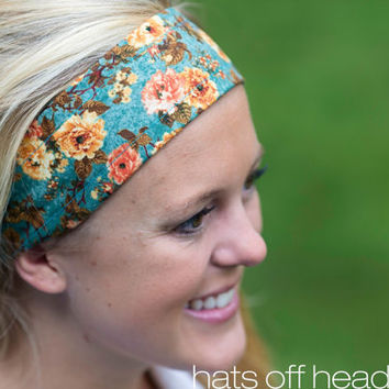 Fashion Headband Teal Autumn Romantic Rose Floral.