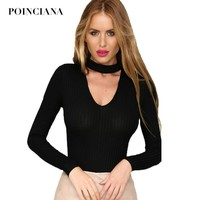Women Bodycon Jumpsuit Long Sleeve Choker Neck Ribbed Bodysuit Polyester Blended Playsuit Slim Pullover Jumper Casual Pull Femme