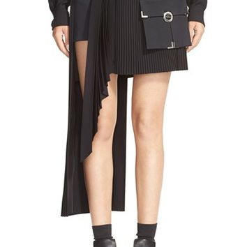 Women's Anthony Vaccarello Cargo Pocket Side Pleat Miniskirt,