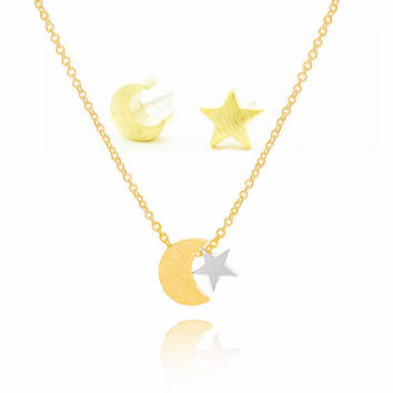 Women's BFF Moon and Star Necklace & Stud Earrings Set