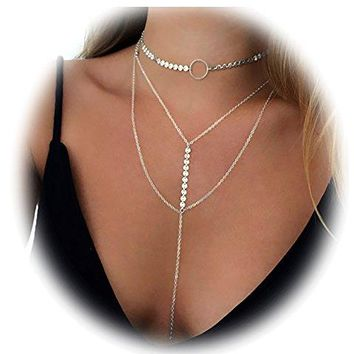 Suyi Stylish Layered Sequins Choker Necklace with Thin Long Chian Pendant for Women Lady Girl