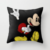 DISNEY MICKEY MOUSE: DARK MICKEY Throw Pillow by Marco Lilliu