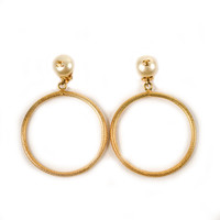 Chanel Vintage Pearl Hoop Earrings