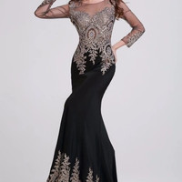 Elegant Black Beaded Prom Dresses Long Sleeves 2014 Custom Made Spandex Mermaid Formal Floor Length U888