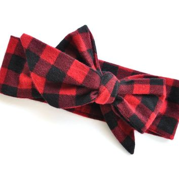 Buffalo Plaid Head Wrap, Girls Headband, Baby Girls Accessories, Girls Hair Accessories, Headwraps
