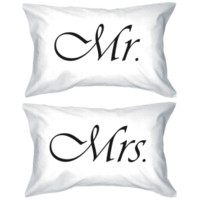 Simple Mr and Mrs Matching Couple Pillow Cases (Set)