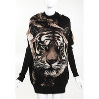 Scoop Neck Tiger Printed Batwing Sleeve Knitting Cardigans