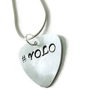 Yolo Necklace, You Only Live Once, Hashtag Jewelry, hashtag necklace, yolo guitar pick, hand-stamped, personalized gift, friendship gift