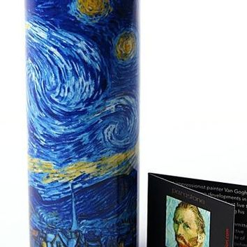 Van Gogh Starry Night Ceramic Tealight Candleholder 5.75H - TC02GO