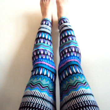 Tribal Leggings Yoga Pants Women's Colorful Leggings Ethnic Design Graphic Leggings Aztec Leggings Yoga Leggings Workout Pants