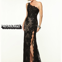 One Shoulder Lace With High Slit Paparazzi Prom Dress By Mori Lee 97112