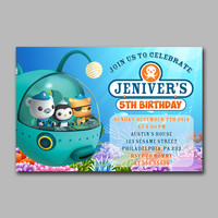 ADF 157 Octonauts Bithday Invitation Kids Birthday Invitation Party Design