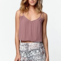 LA Hearts Crisscross Back Cropped Tank Top - Womens Shirts - Brown