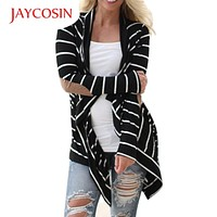 Autumn Outerwear Women Long Sleeve Striped Printed Cardigan Casual Elbow Knitted Sweater