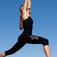 Bali Om Yoga Pants for Women, Black, Stretch, Rayon Lycra - Island Importer