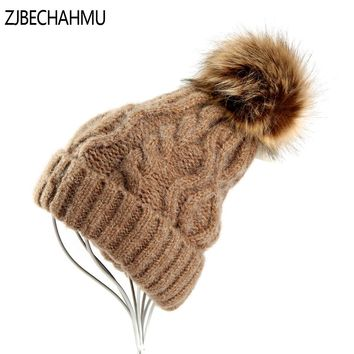 Fashion Girl 'S Skullies Beanies Winter Hats For Women Knitting Cap Hats Pompoms Ball Warm Brand Casual Gorros Thick Female Cap