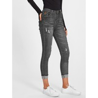 Get Here By Eight Ripped High Waisted Jeans – Gray