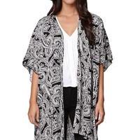 LA Hearts Paisley Kimono - Womens Shirts - Black - One