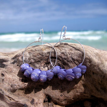 Hawaiian Violet Snail Shells (Mermaid's Tears) on 925 Sterling Silver Circular Wire Small Hoop Earrings