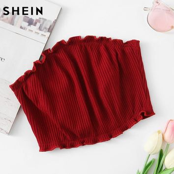 SHEIN Frill Trim Ribbed Bandeau Top Sexy Crop Tops Women 2017 Burgundy Casual Summer Tops Fitness Strapless Top