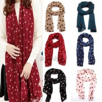 New Women's Dot Print Silk Chiffon Scarf Wraps Ladies Long Shawl Scarves