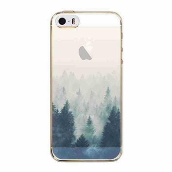 Beautiful Mountain Forest Scenery Ultra Thin Half Transparent Soft TPU Phone Case Cover Shell For Apple iPhone 5 5S SE