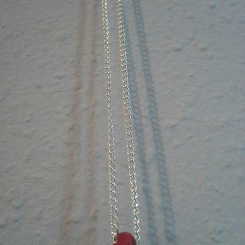 tiny wooden red bead necklace