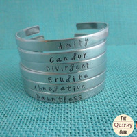 Divergent - Choose your Faction - Hand Stamped Cuff - Erudite - Amity - Dauntless - Abnegation - Candor