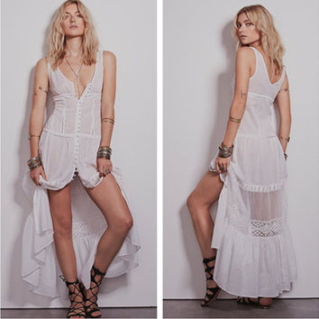 Fashion Gauze Stitching Hollow Lace V-Neck Sleeveless Cardigan Vest Maxi Dress